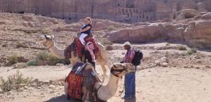 the camel ride in Petra Jordan